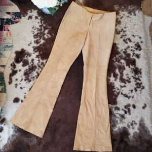 100% Genuine Leather Lined Bell Bottoms Size 4 Tan